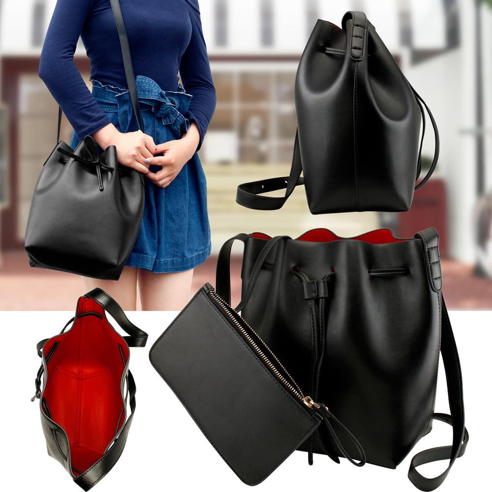Black Women Fashion Handbag Faux Leather Bucket Bag Tote Shoulder Satchel Cross Body Retro drawstring closure Crossbody Purse w\/small pouch
