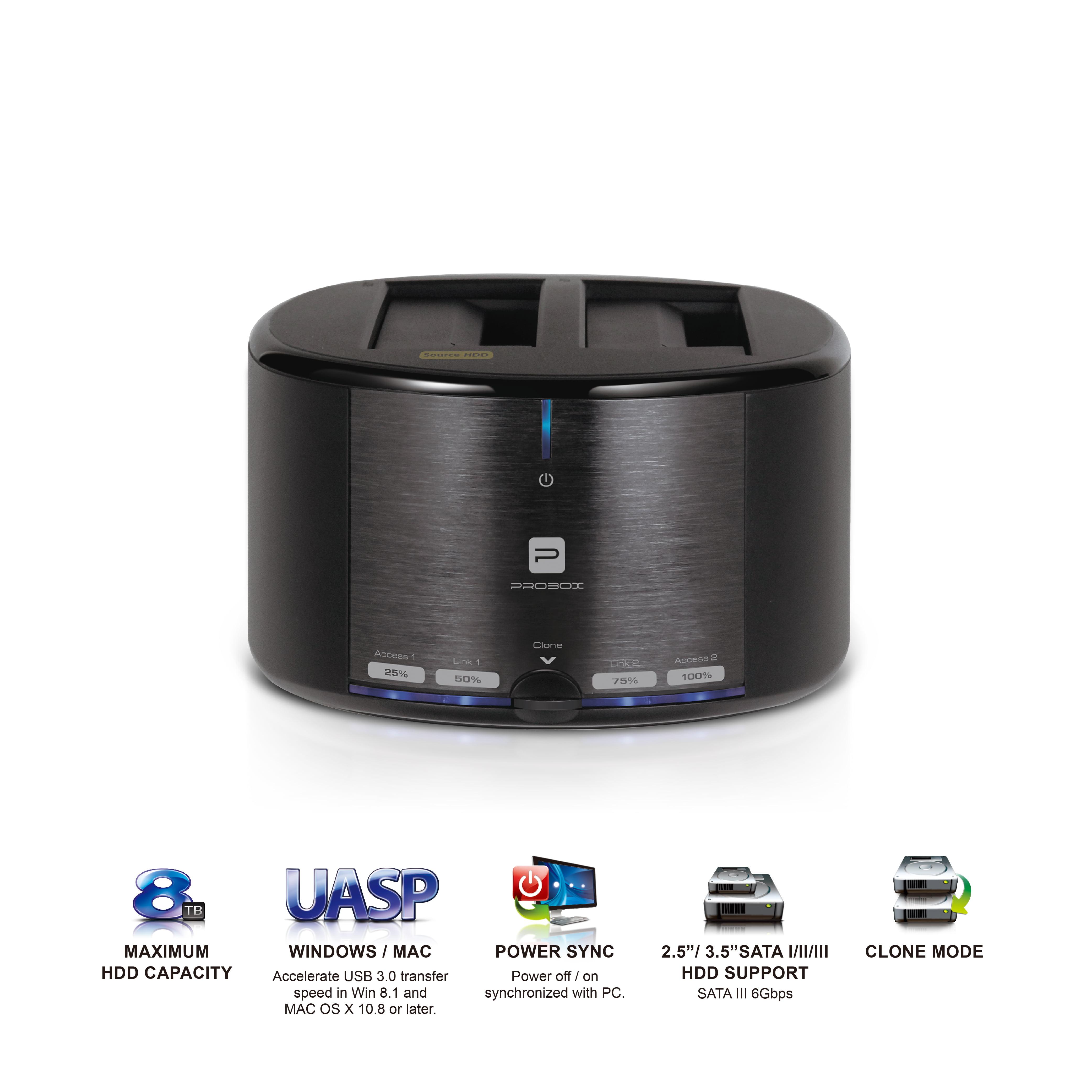Mediasonic ProBox HUD1-SU3 USB 3.0 2 Bay External Hard Drive Docking Station for