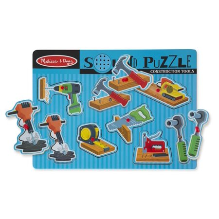 Melissa & Doug Construction Tools Sound Puzzle - Wooden Peg Puzzle (8 - Tools Peg Puzzle