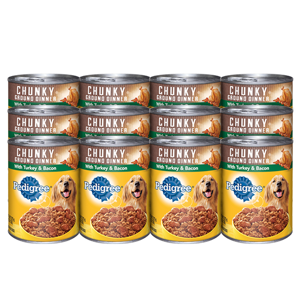 PEDIGREE Chunky Ground Dinner With Turkey & Bacon Canned Dog Food 13.2 Ounces (Pack of 12)