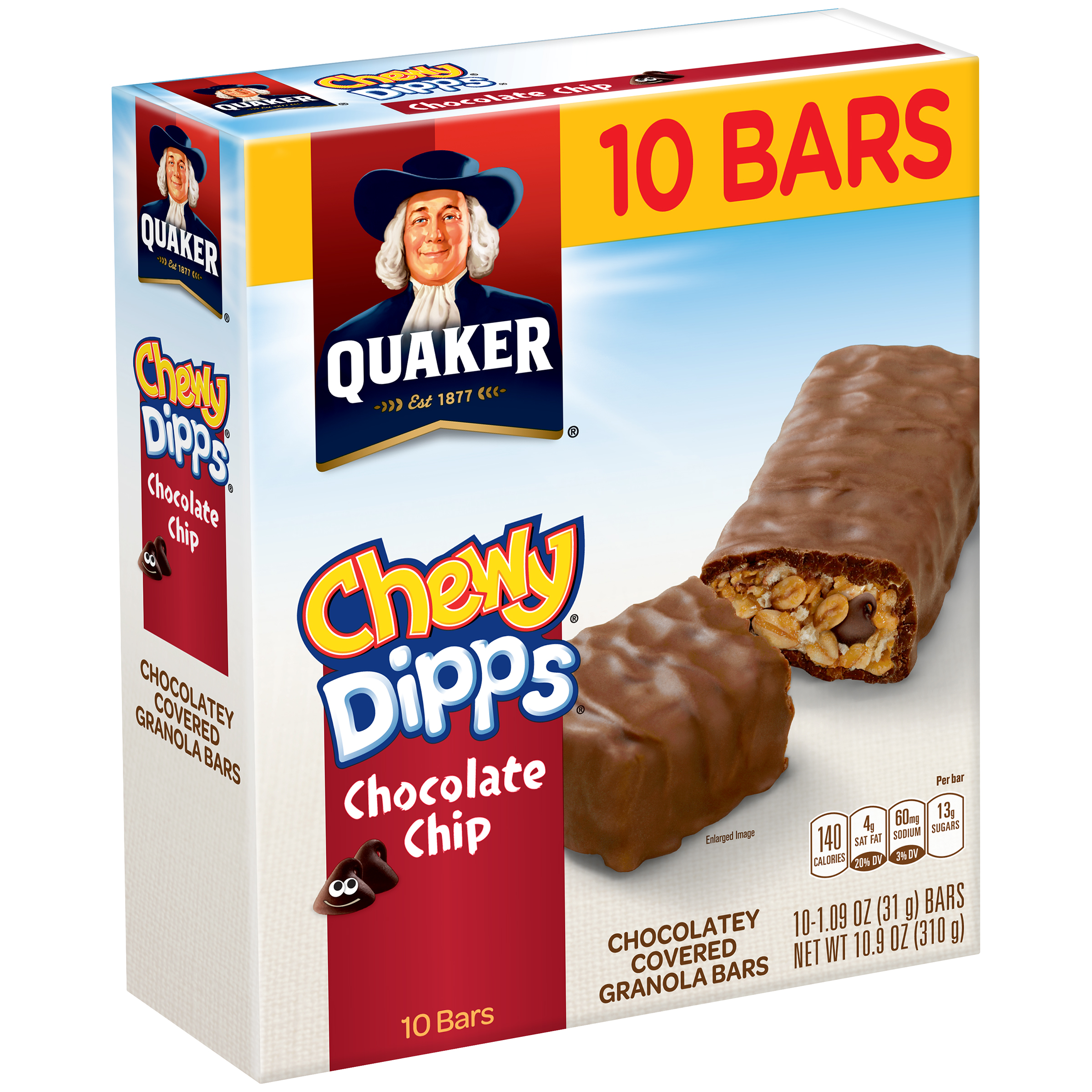 Quaker Chewy Dipps Chocolate Chip Granola Bars, 1.09 oz, 10 count