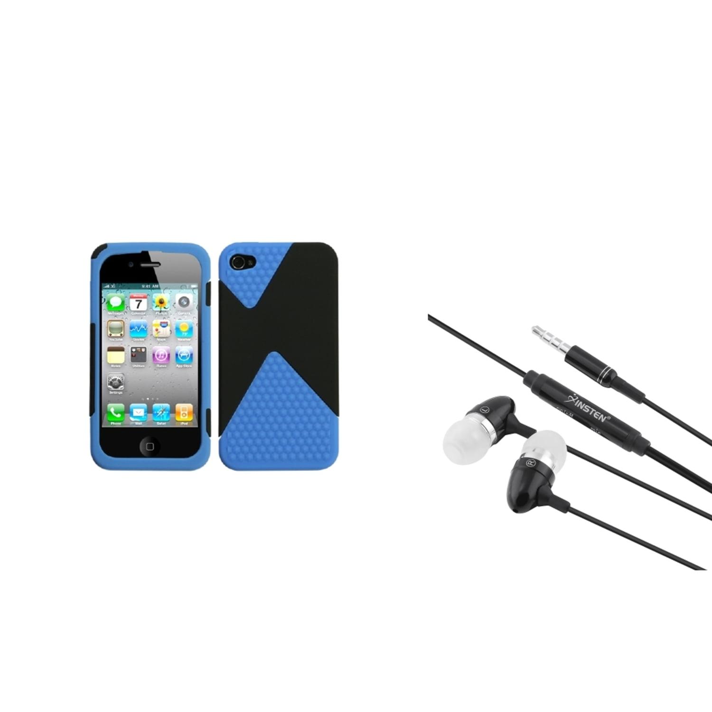 Insten Rubberized Black/Dark Blue Diamond Veins Dual Case For Apple iPhone 4 4S + 3.5mm Headset