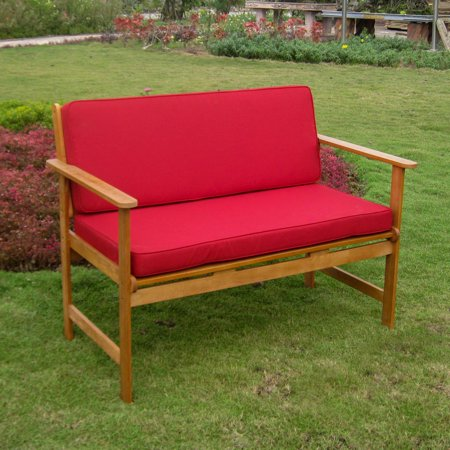 International Caravan Royal Tahiti Gulf Port Patio Bench with Cushions