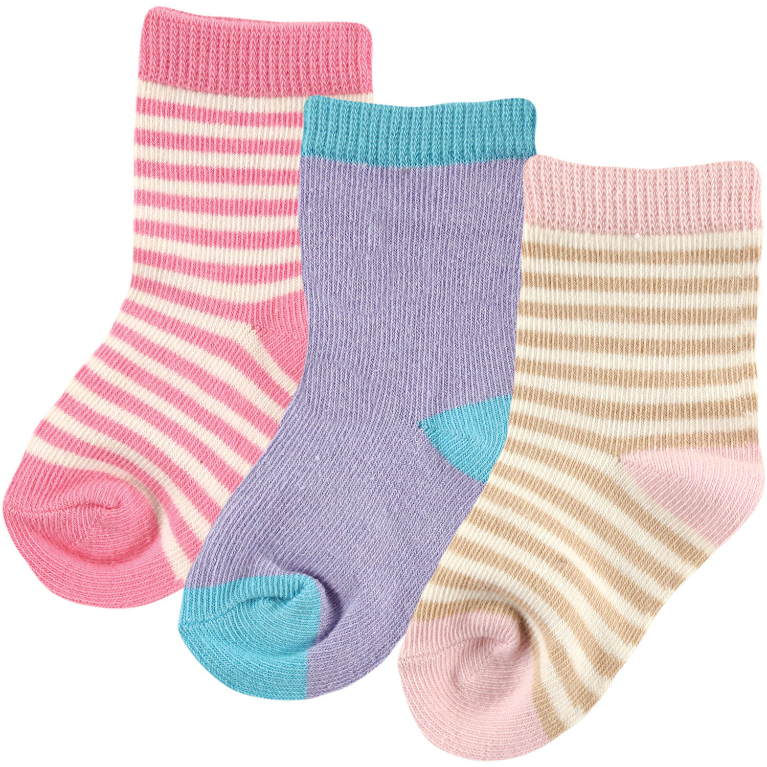 Touched By Nature 100% Organic Cotton Newborn Baby Clothes Girls Socks 3-Pack