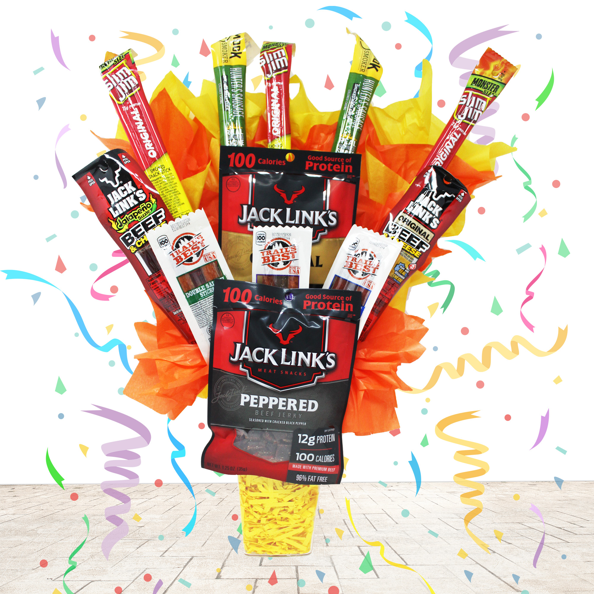 Beef Jerky Man Bouquet. Perfect for Anniversary, Birthday's and Father's Day. Over 1 Pound of Popular Meat Snacks by Jack Links, Slim Jim and More