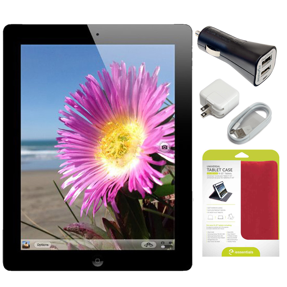 "Apple iPad 4 16GB WiFi Black - MD510LL/A – (Refurbished) w/ Mizco Universal Red Folio Case for 9-10"" Tablet - Android and iPad & DigiPower 2.1amp Dual USB Car Charger"