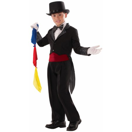 Masked Magician Halloween Costume (Halloween Child Magician Tailcoat)
