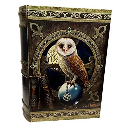 LISA PARKER WISE OWL SPELL KEEPER PENTAGRAM PAGAN WOODEN BOOK BOX 10.25