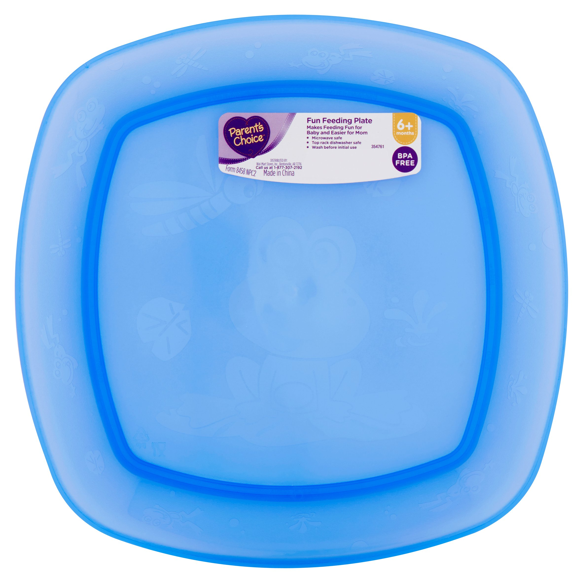 Parent's Choice Square Plate, Colors May Vary