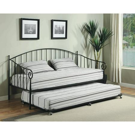 pilaster designs matt black metal twin size day bed daybed frame with pop up trundle. Black Bedroom Furniture Sets. Home Design Ideas