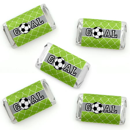 GOAAAL! - Soccer - Mini Candy Bar Wrapper Stickers - Baby Shower or Birthday Party Small Favors - 40 Count (Soccer Party Decor)