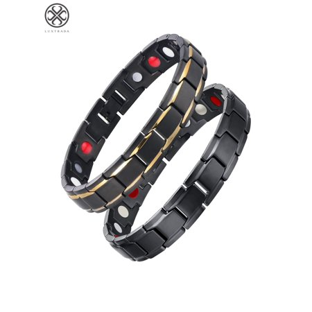 Luxtrada Magnetic Copper Bracelet, Magnetic Therapy Bracelet For Arthritis And Carpal Tunnel Pain Relief for Mother's day (Black)](Black Jelly Bracelets)