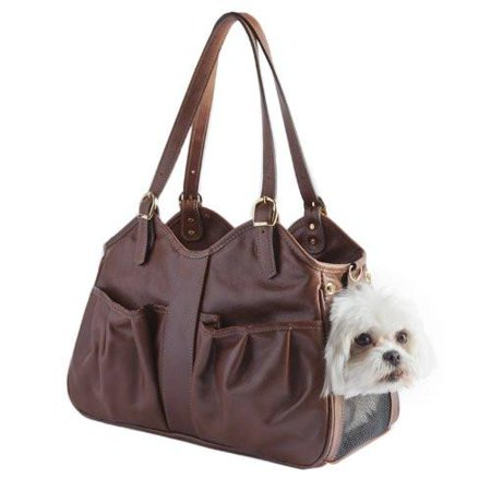 Petote Metro Couture Leather Dog Carrier Toffee (Petote Couture Metro Pet Carrier)