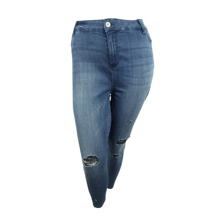 Celebrity Pink Women's Plus Size Distressed Skinny Ankle Jeans