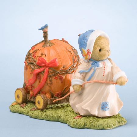 Cherished Teddies Halloween Mildred Pulling Pumpkin Car Thankful for $<!---->