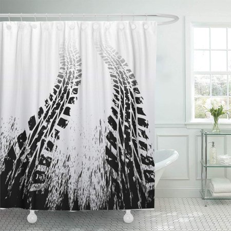 KSADK Road Black Tire Track on Car Truck Vehicle Motorcycle Dirt Tractor Silhouette Shower Curtain Bathroom Curtain 66x72