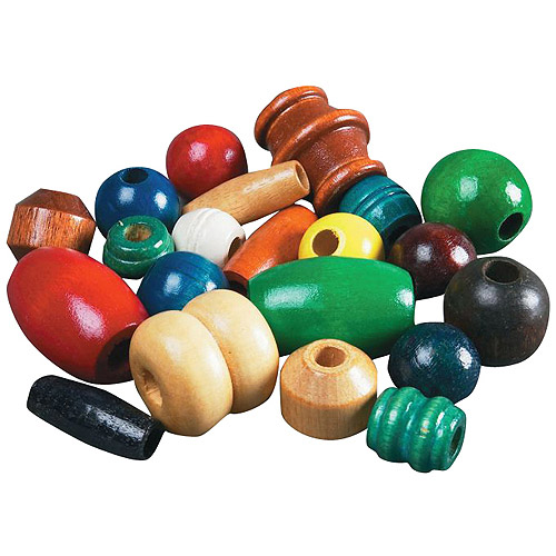 "School Smart Assorted Shape Wood Beads, 0.62"" to 2"", Pack of 75"