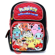 "Pokemon Large School Backpack 16"" Book Bag New Style Red"