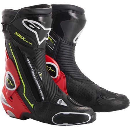 Alpinestars Smx 1 Riding Motorcycle - Alpinestars SMX Plus Vented Motorcycle Boots Black/ Red/Yellow
