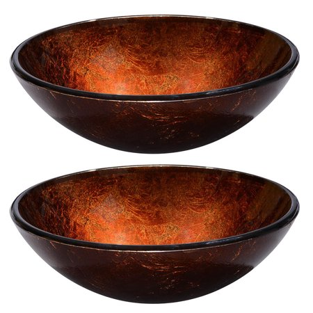 Aquaterior® 2 Pcs Round Tempered Glass Above Counter Vessel Bowl Vanity