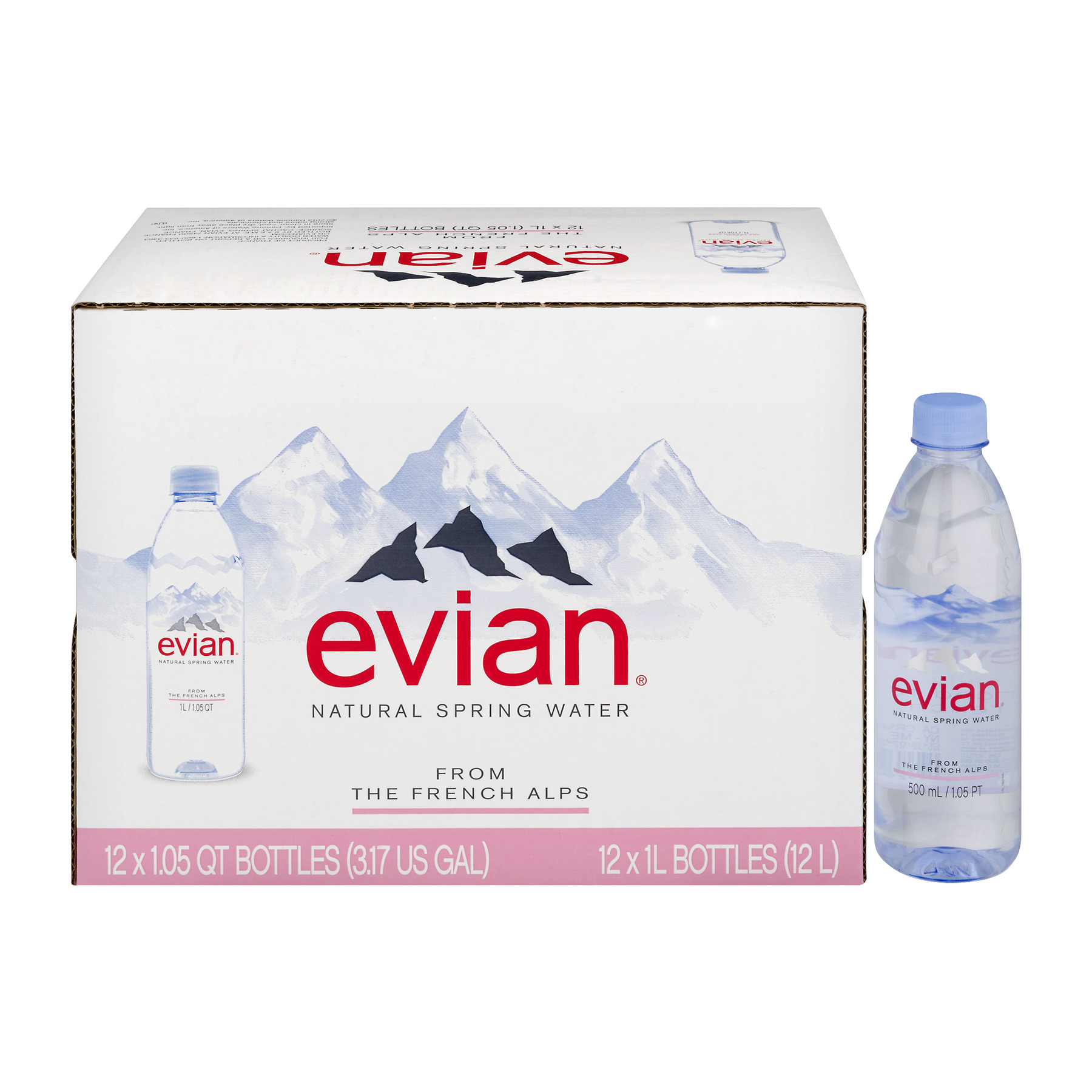 Evian Natural Spring Water, 1 L, 12 Count