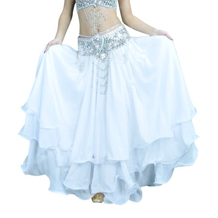 Choli Belly Dance - BellyLady Belly Dance Skirt Halloween Tribal Chiffon Tiered Maxi Full Skirt-White