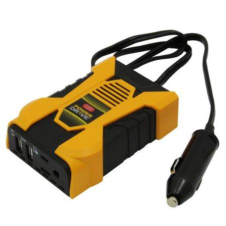 PowerDrive PD120 120W Slim Plug-In Inverter with 1 AC USB 2.4A & USB-C 3.0A Ports Ac 120 Watt Usb Inverter