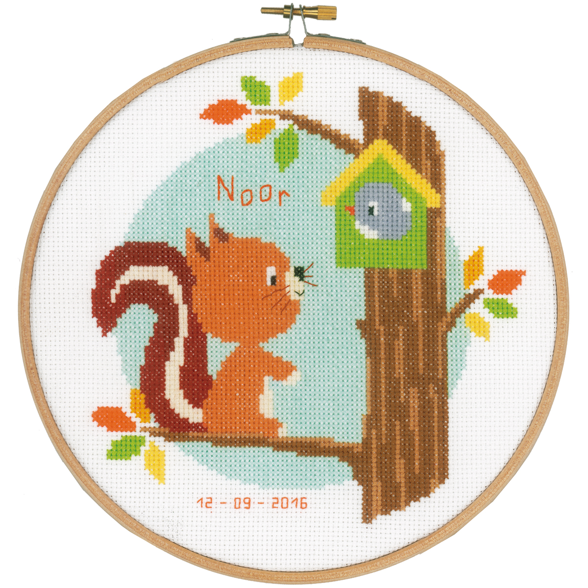"Squirrel In Tree Birth Record On Aida Counted Cross Stitch K-8"" Round 14 Count"