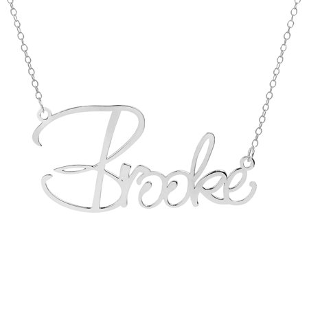 Personalized Sterling Silver or Gold Plated Single Nameplate Necklace With 18 inch Link Chain