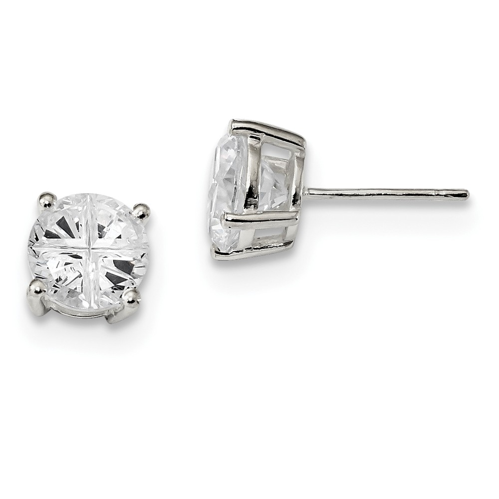 Diamond2Deal 925 Sterling Silver Black and Colored Cubic Zirconia 8mm Round Post Earrings