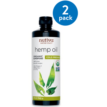 (2 Pack) Nutiva Organic, Cold-Pressed Hemp Oil, 24 Fl Oz, 47