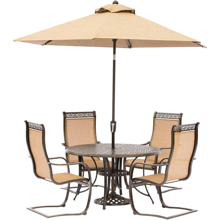 Hanover Manor 5-Piece Outdoor Dining Room Set with C-Spring Chairs, Umbrella and Stand by Hanover