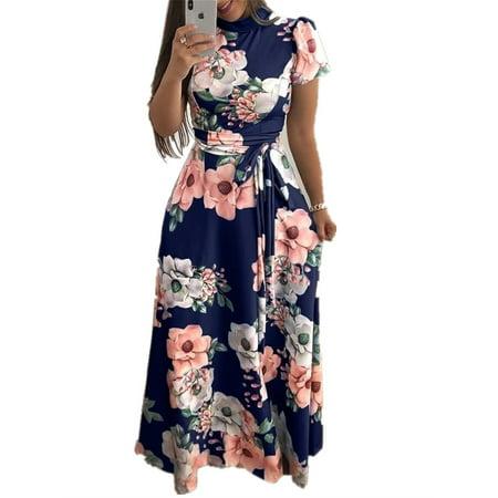Floral Print Plus Size Long Maxi Dress with Belt