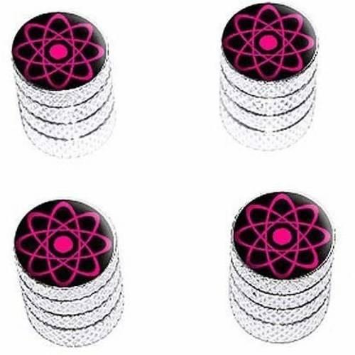 Atomic Symbol Pink Tire Rim Wheel Aluminum Valve Stem Caps, Multiple Colors