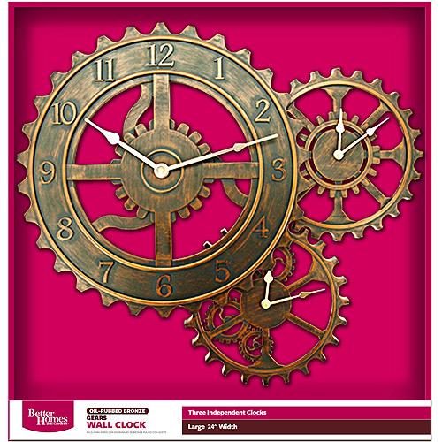 """Better Homes and Gardens 24"""" QA Gear Wall Clock, Bronze"""