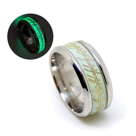 Ginger Lyne Collection Glow in The Dark Green Stainless Steel Wedding Band Ring Gold Inlay Amber Collection Green Ring