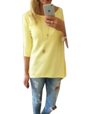 Women Casual Long  Sleeve Tops Loose Trim Solid Color Round Neck Plus Size T-Shirt Blouse S-5XL