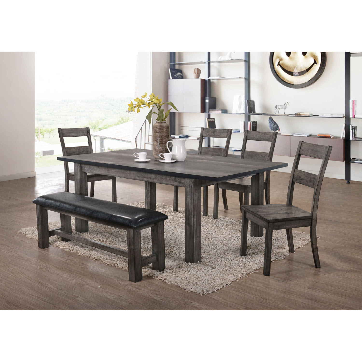 Cambridge Drexel Dining 6 Piece Set with Four Wooden Chairs and Bench
