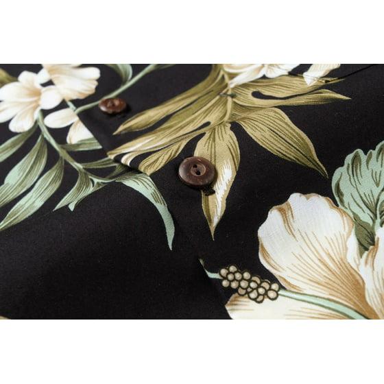 86442c0b Hawaii Hangover - Made in Hawaii Men's Aloha Shirt Cluster Floral Leaf in  Black and Green - Walmart.com