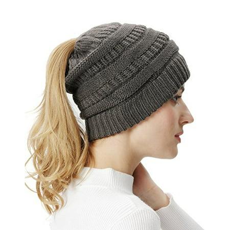 aa4a5ec90 Deago - Deago Women Ponytail Beanie Hats Winter Soft Knit Warm Hat ...