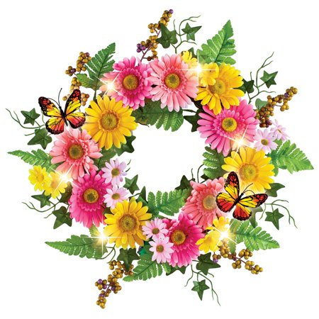 Colorful Gerber Daisy Floral Springtime Wreath with Lights - Spring Décor for Any Room in Home](Umbrella Wreath)