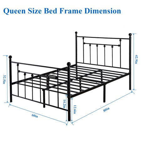 Vecelo Antique Metal Bed Platform Frame, What Are The Dimensions For A Queen Size Bed Frame