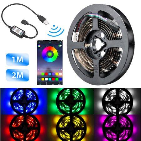 TSV 3.3Ft / 6.6Ft 5050 SMD RGB Multicolor LED Strip Light Music Mode Smart APP Bluetooth Controller USB Powered ()