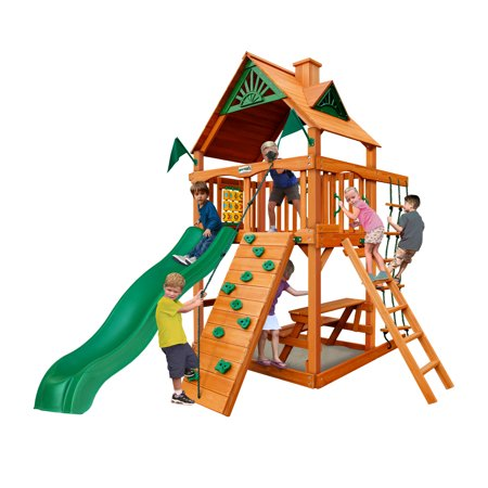 Gorilla Playsets Chateau Tower Wooden Playset with Rock Climbing Wall, Rope Ladder, and Accessories (Rock Climbing Rope Bags)