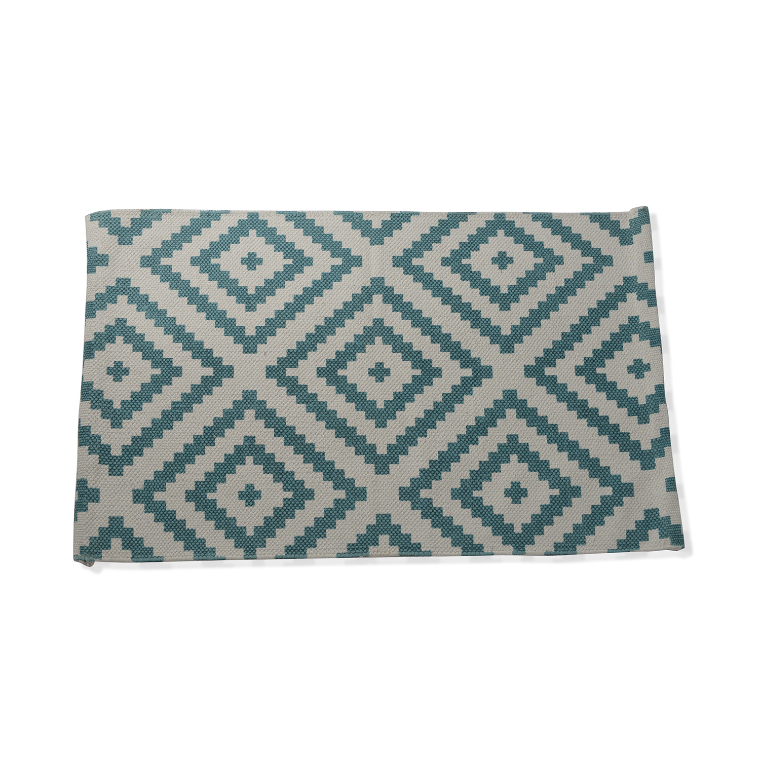 Turquoise and White Cotton Rug