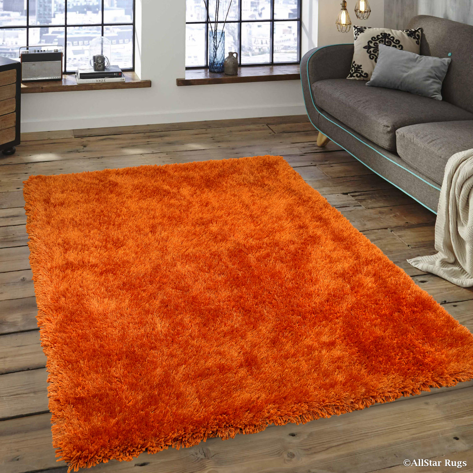 "Allstar Tangerine High Density and High Quality High End Shaggy Area Rug. Very Soft Extra comfort (3' 8"" x 5' 1"")"