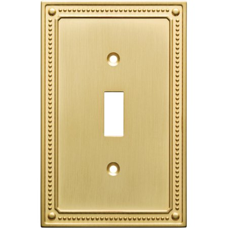 - Franklin Brass Classic Beaded Single Switch Wall Plate in Brushed Brass