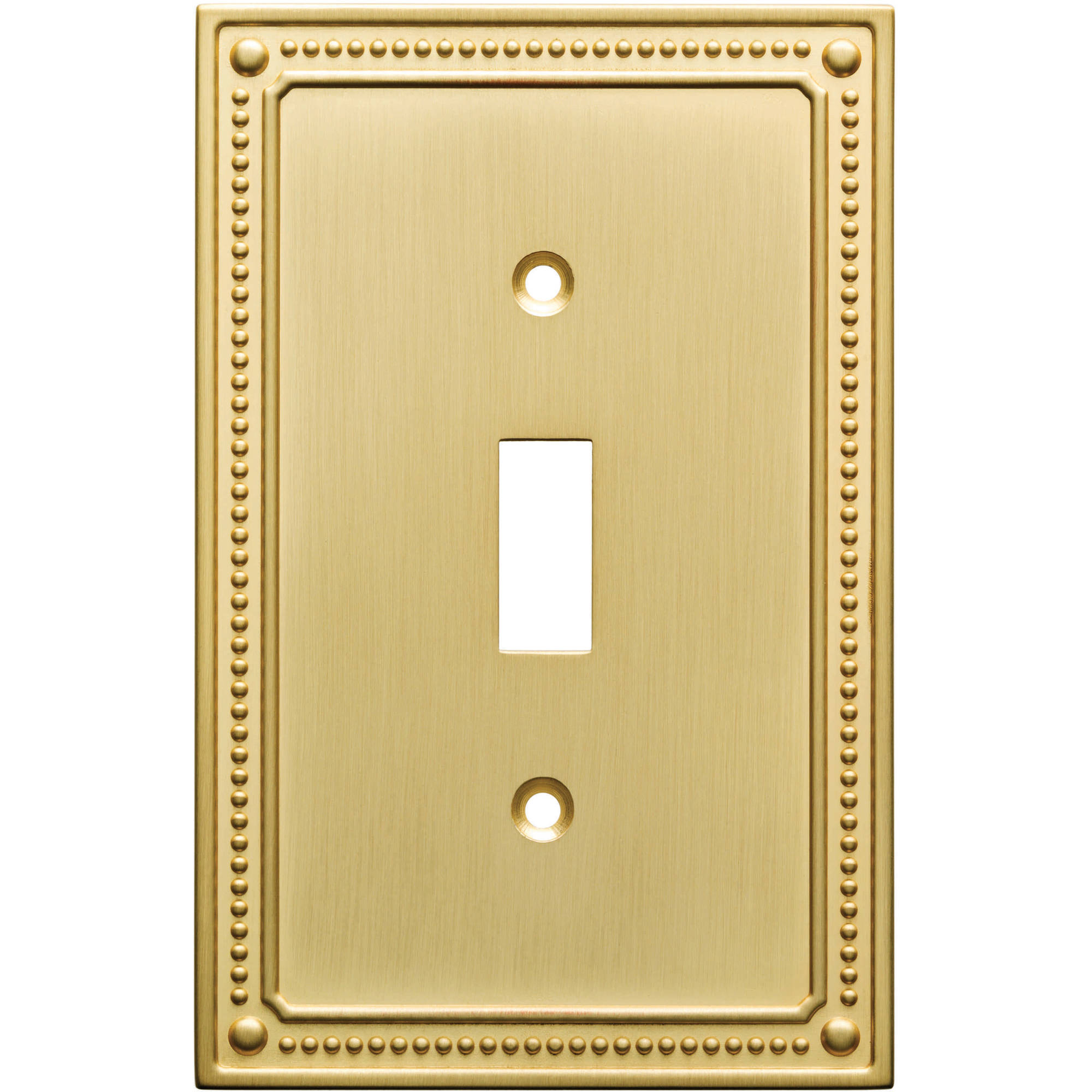 Franklin Brass Classic Beaded Single Switch Wall Plate in Brushed Brass