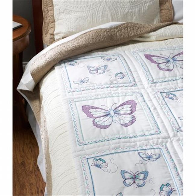 Bucilla 46067 15 x 15 in. Stamped Embroidery Quilt Blocks, Butterfly - 6 per Pack - image 1 of 1