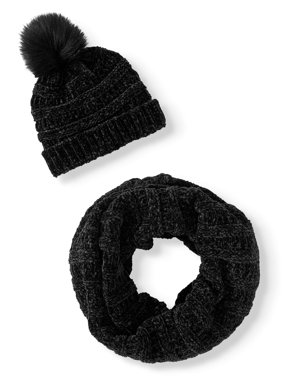 Time and Tru Textured Chenille Infinity Scarf and Textured Chenille Beanie